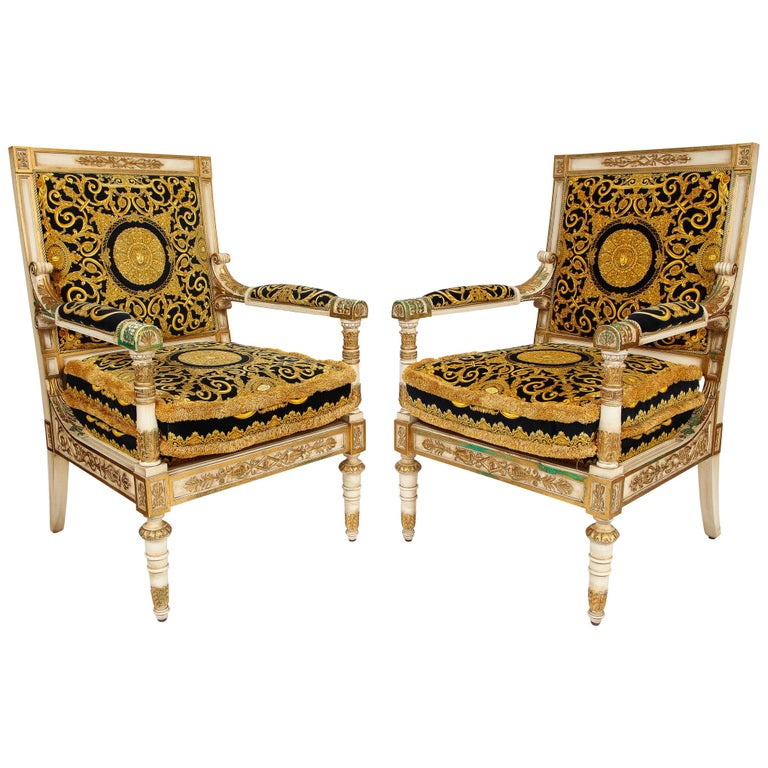 Pair of Empire-style Versace armchairs, 1995