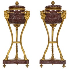 Pair of Egyptian Porphyry Ormolu-Mounted Brule Parfumes after Gouthiere