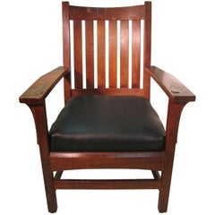 L&JG Stickley Mission Arts & Crafts Vee Back Armchair #422, circa 1915