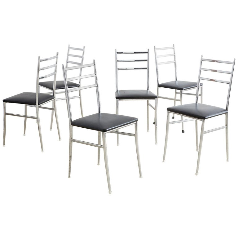 Set of Six Gio Ponti Superleggera Style Dining Chairs