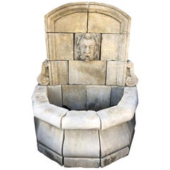 French Limestone Wall Fountain