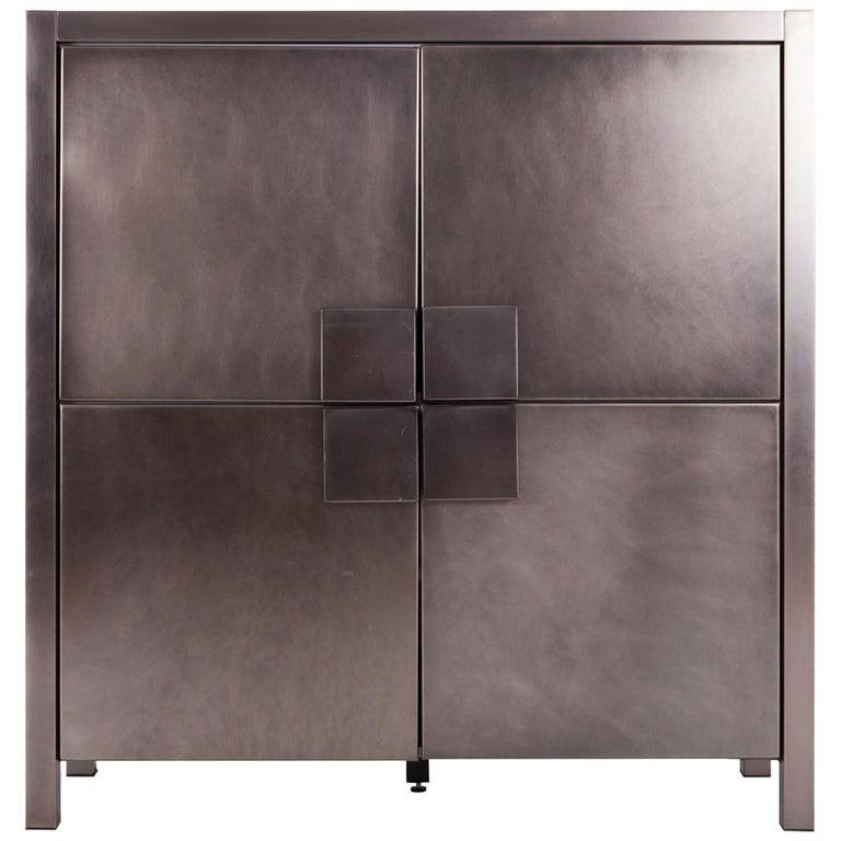 Maison Jansen Steel Brushed Four-Door Cabinet