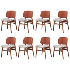 Modern Set of Eight Børge Mogensen for Soborg Mobler Danish Teak Dining Chairs