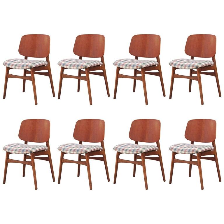 Modern Set of Eight Børge Mogensen for Soborg Mobler Danish Teak Dining Chairs