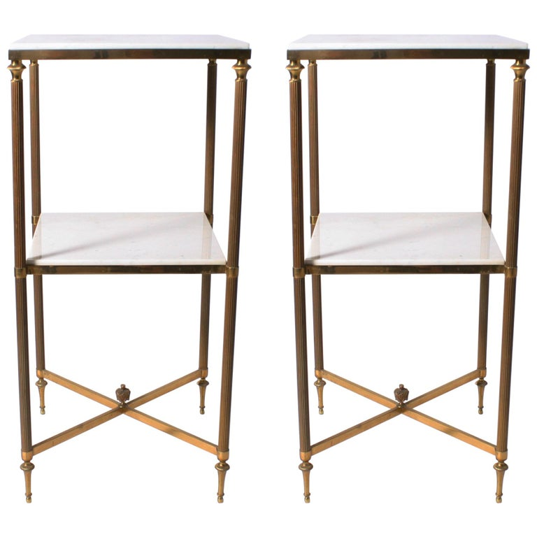 Pair of Louis XVI Cigarette Tables with White Marble Tops, circa 1950