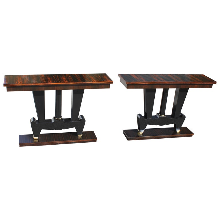 Spectacular Pair of French Art Deco Macassar Ebony Console Tables, circa 1940s