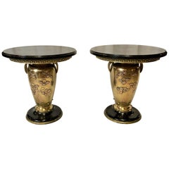 Pair of Antique 19th Century Japanese Marble-Top Tables