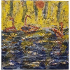 Ocean Ships Landscape Mixed-Media Painting Oil on Linen Abstract Expressionism