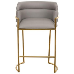 Modern Style Full Back Bar Stool in Grey Faux Leather and Polished Brass Frame