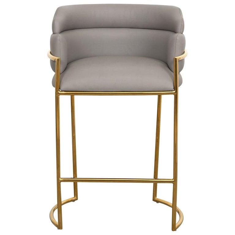 Modern Style Full Back Bar Stool In Velvet And Polished