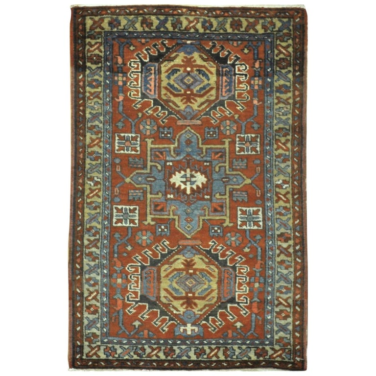 Small Antique Hand-Knotted Wool Persian Heriz Rug