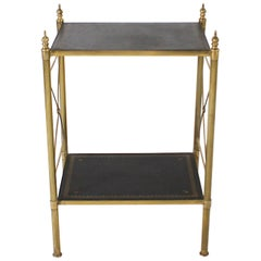 Brass Side Table with Leather Tops and Brass Detail, circa 1950