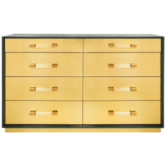 Eight-Drawer Dresser with Polished Brass Veneer Fronts and Hunter Green Case