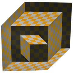 "Victor Vasarely ""Axo"" Silkscreen on Aluminium Sculpture Signed 131/250"