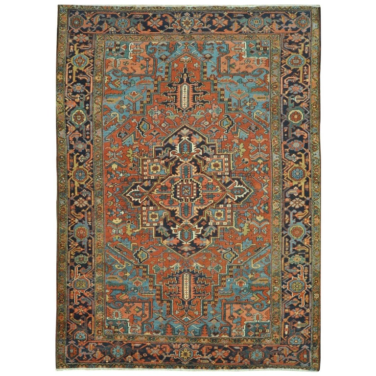 Antique Hand-Knotted Wool Persian Heriz Rug