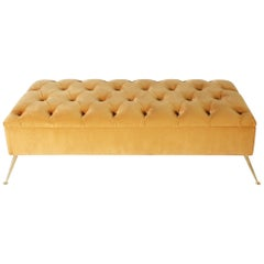 Italian Tufted Bench with Brass Base, circa 1970