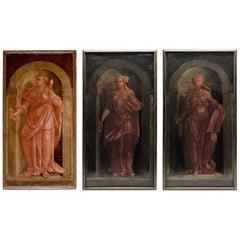 Set of Three 18th Century Antique Italian Paintings