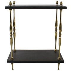 Brass Side Table with Leather Tops, circa 1950