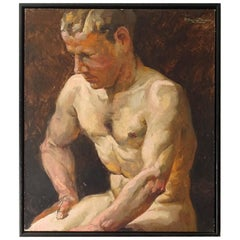1930s Art Deco Male Men Nude Portrait Study Oil Painting by Paul Adolf Hauptmann