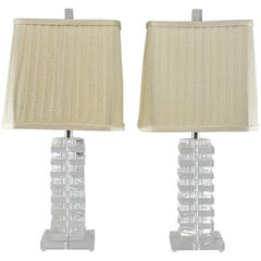Pair of Lucite Table Lamps in the Style of Karl Springer with String Shades