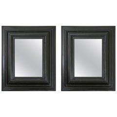 Pair of Dutch Ebonized Cushion Frame Mirrors