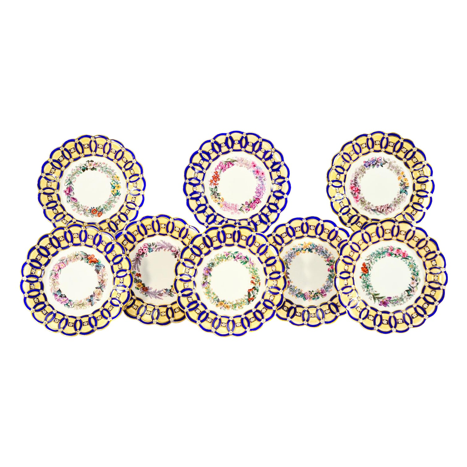 8 Spode Aesthetic Movement Hand Painted Blue & Ivory Floral Dessert Plates