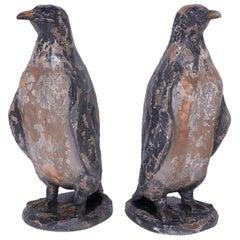Pair of Carved Wood Penguins