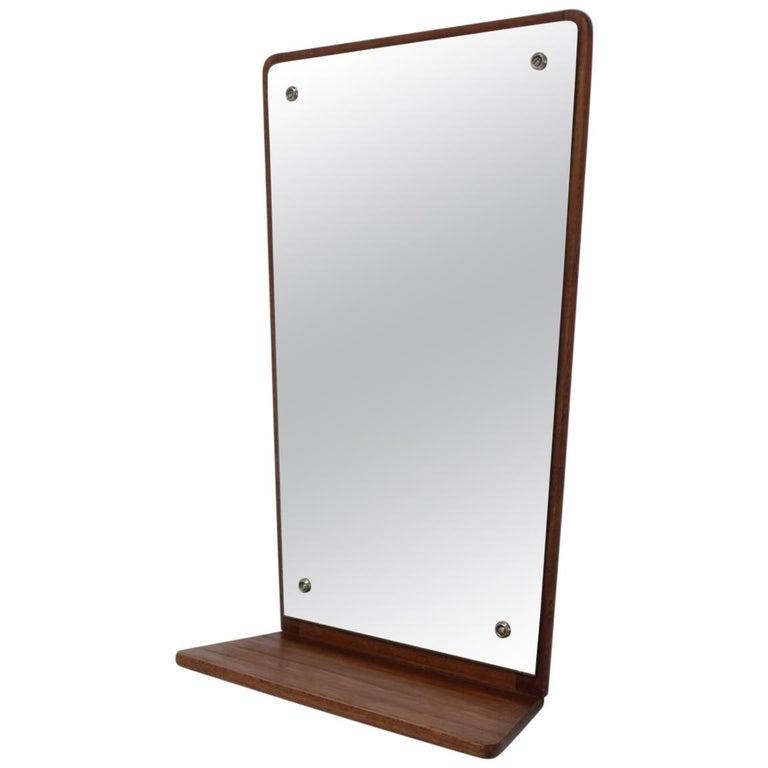 Midcentury Teak Wall Mirror with Shelf, Denmark, by Jansen Spejle, 1960s