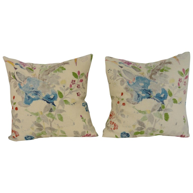 Pair of Custom Reverse English Block Linen Pillows