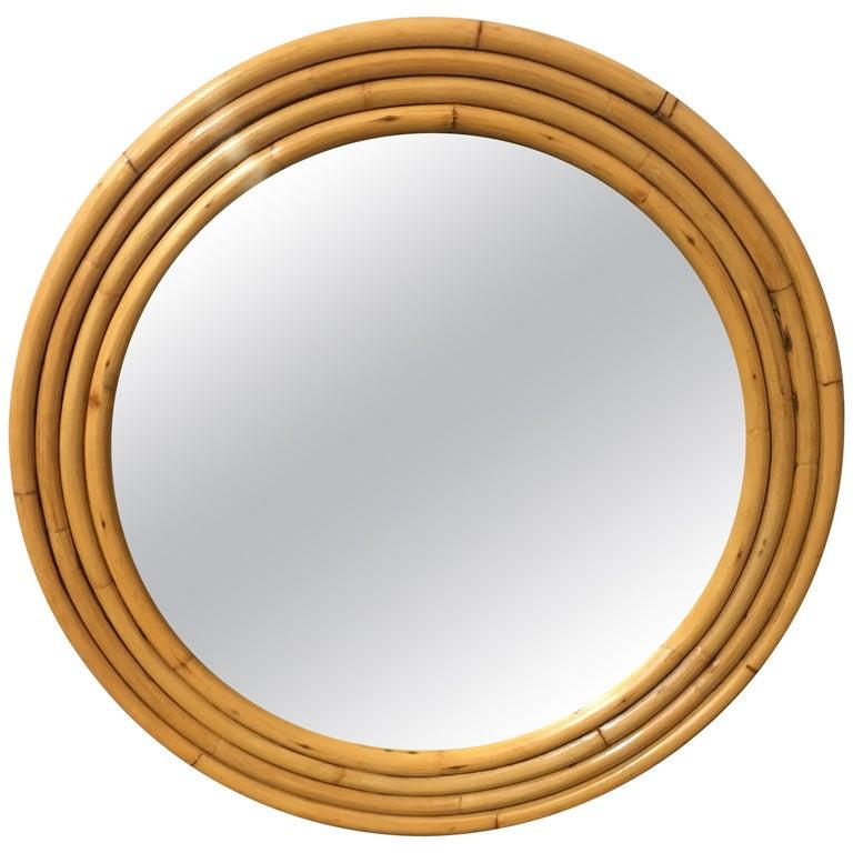 1940s Four-Strand Round Rattan Mirror