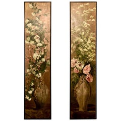 Pair of Antique Oil on Canvas Floral Panels, circa 1890-1910