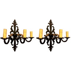 Pair of Antique French Wrought Iron Sconces