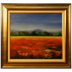 Italian Signed Landscape Oil Painting in Impressionist Style from 20th Century