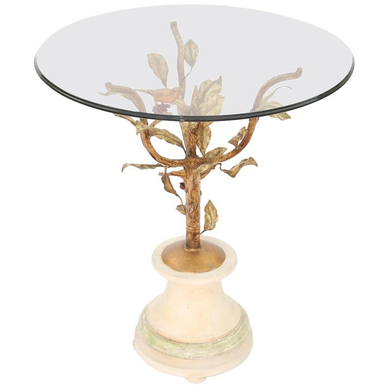Giacometti Style Gilded Iron Occasional Table with Glass Top For Sale