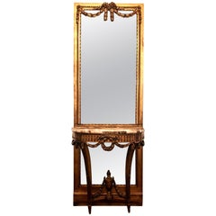 Antique French Louis XVI Console and Mirror, circa 1860