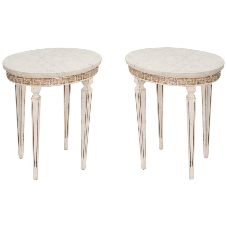 Pair of Marble-Top Italian Accent Tables with Greek Key Apron For Sale