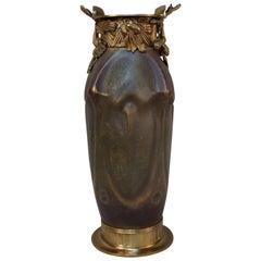 Art Nouveau Amphora Pottery and Bronze Vase