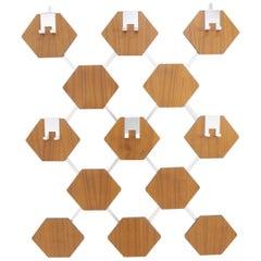 Midcentury Teak Wall Rack Coat, Denmark, 1970s