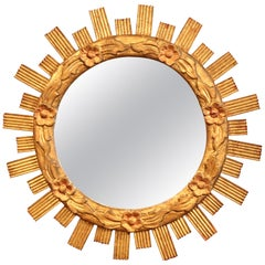 Mid-20th Century French Carved Giltwood Round Sunburst Mirror with Floral Decor