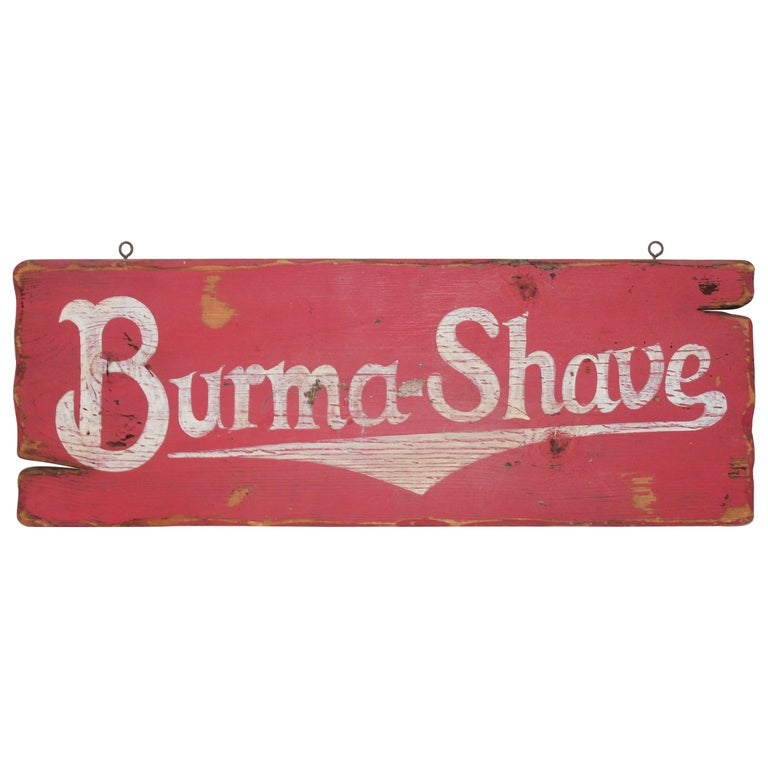 Burma Shave Trade Sign For Sale