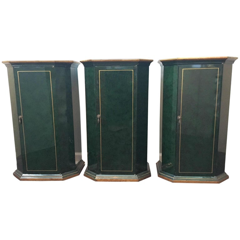 Art Deco Faux-Malachite Cabinets, Set of Three