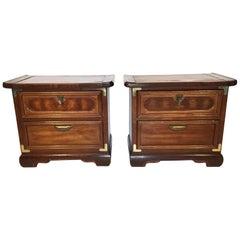 Pair of Asian Heavy Wood Nightstands