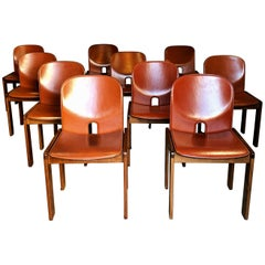"""Afra & Tobia Scarpa Midcentury """"121"""" Dining Chair for Cassina, 1965, Set of Ten"""