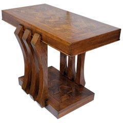 Modernist French Art Deco Oak Console Table