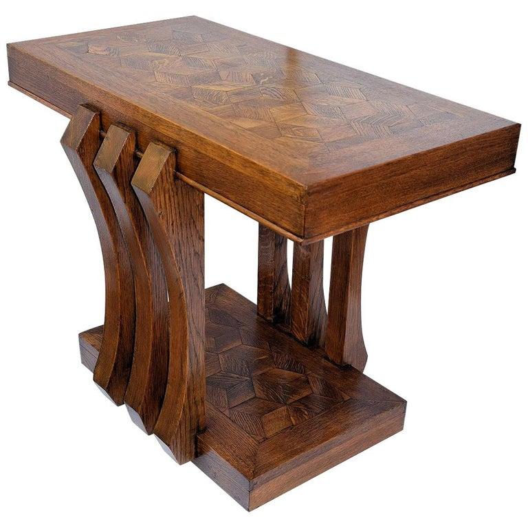 Modernist French Art Deco Oak Console Table
