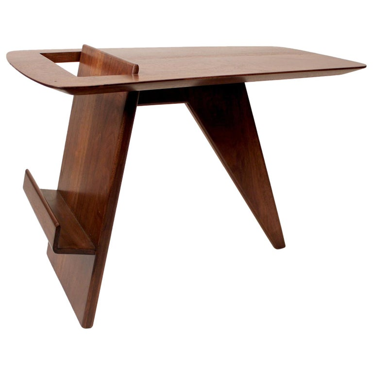 Jens Risom Solid Walnut 1950s Magazine Side Table