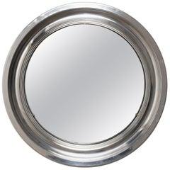 Round Mirror, Aluminum Vintage, Italy 1960s Midcentury Modern, Artemide Style