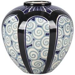 French Art Deco Glazed Ceramic Vase, 1930s