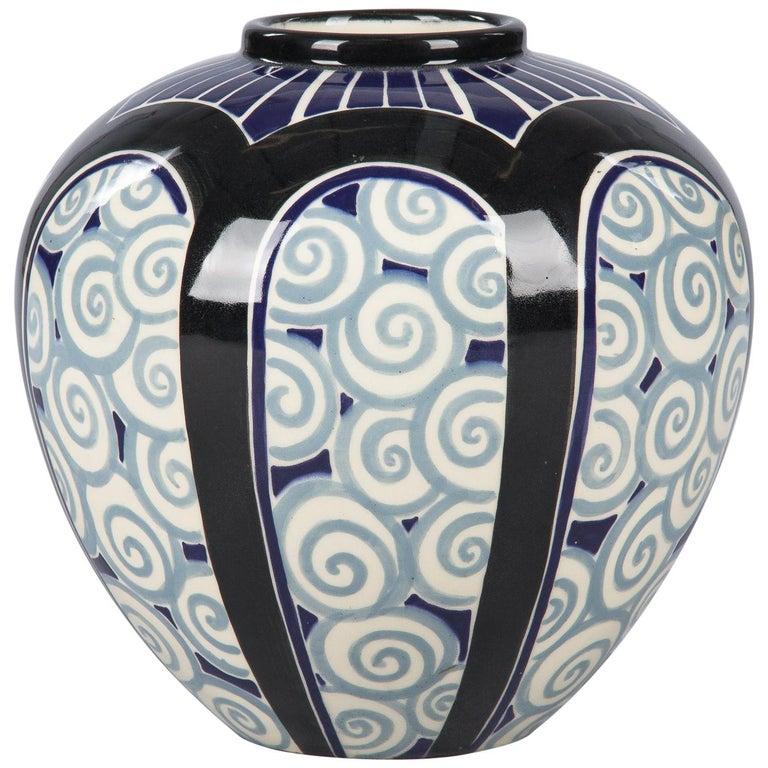French Art Deco Glazed Ceramic Vase, 1930s For Sale