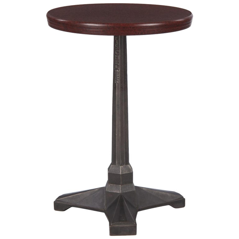 French Art Deco Bakelite and Iron Bistro Table by Fischel, 1930s